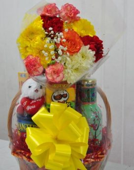 Gift Basket with Added Fresh Flowers